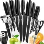 Stainless Steel Knife Set with Block - 13 Kitchen Knives Set Chef Knife Set with Knife Sharpener, 6 Steak Knives, Bonus Peeler Scissors Cheese Pizza Knife and Acrylic Stand